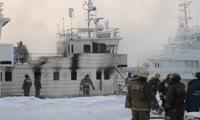 На Енисее в окрестностях Красноярска сгорел теплоход