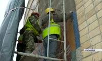 На стадионе Енисей проводится демонтаж мозаики
