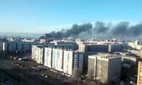 Пожар  в районе военчасти на Краснодарской