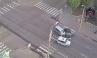 Такси попало в ДТП в центре Красноярска