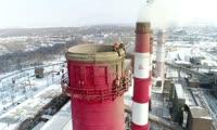 Демонтаж дымовой трубы на Красноярской ТЭЦ-1