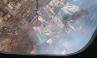 Авиация МЧС тушит пожар на лесоперерабатывающем предприятии в Кодинске