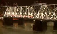 Подсветка ж/д моста через Енисей в Красноярске