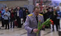 Полицейский оркестр в красноярском аэропорту
