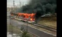 В депо на правобережье Красноярска сгорел трамвай