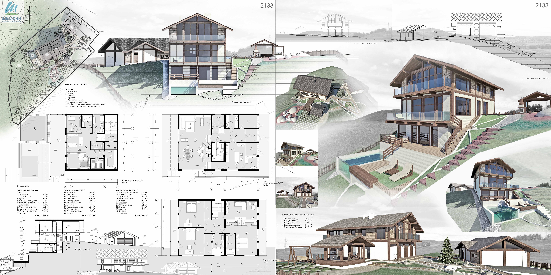 проекты гостевых домов с баней на крутых склонах