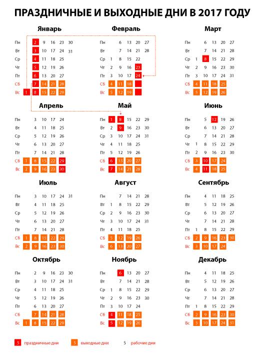 Календарь на 2016 года в excel