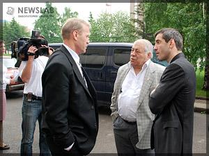 Фото: Перед пресс-конференцией. Сергей Подоленко, Дмитрий Миндиашвили, Бувайсар Сайтиев
