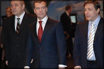 Фото: Анатолий Квашнин, Дмитрий Медведев, Александр Хлопонин.