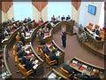 Во время выступления председателя Законодательного собрания Александра Усса